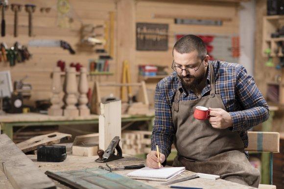 Wood designer in work shop.