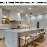 natural stone waterfall kitchen island
